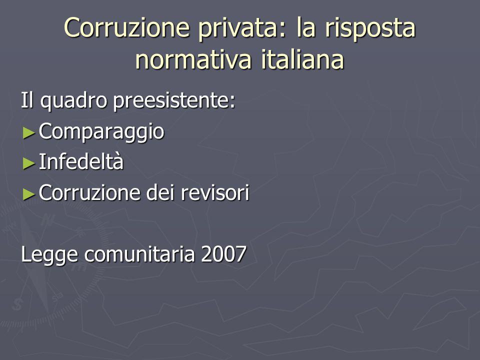 Corruzione privata: la risposta normativa italiana Il quadro preesistente: ► Comparaggio ► Infedeltà ► Corruzione dei revisori Legge comunitaria 2007