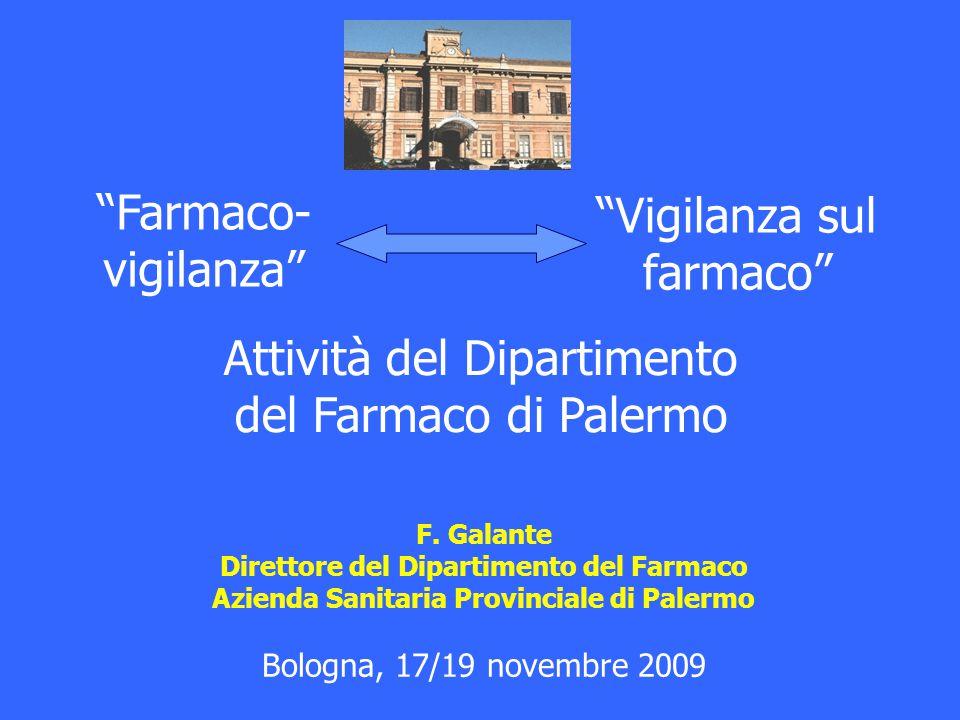 """""""Vigilanza sul farmaco"""" F. Galante Direttore del Dipartimento del Farmaco Azienda Sanitaria Provinciale di Palermo Bologna, 17/19 novembre 2009 Attivi"""