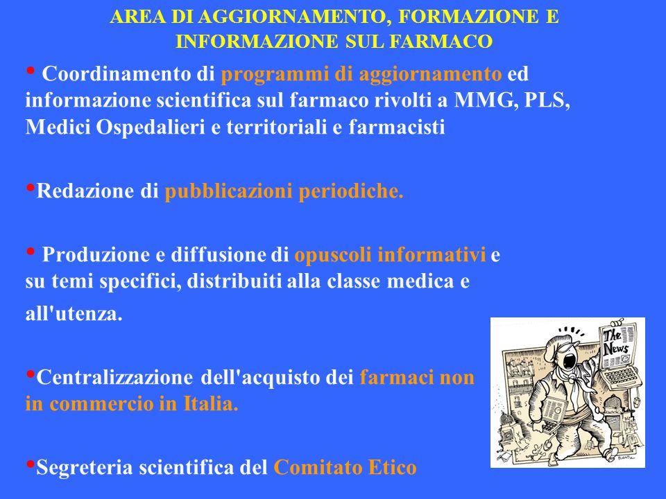 AREA DI AGGIORNAMENTO, FORMAZIONE E INFORMAZIONE SUL FARMACO Coordinamento di programmi di aggiornamento ed informazione scientifica sul farmaco rivol