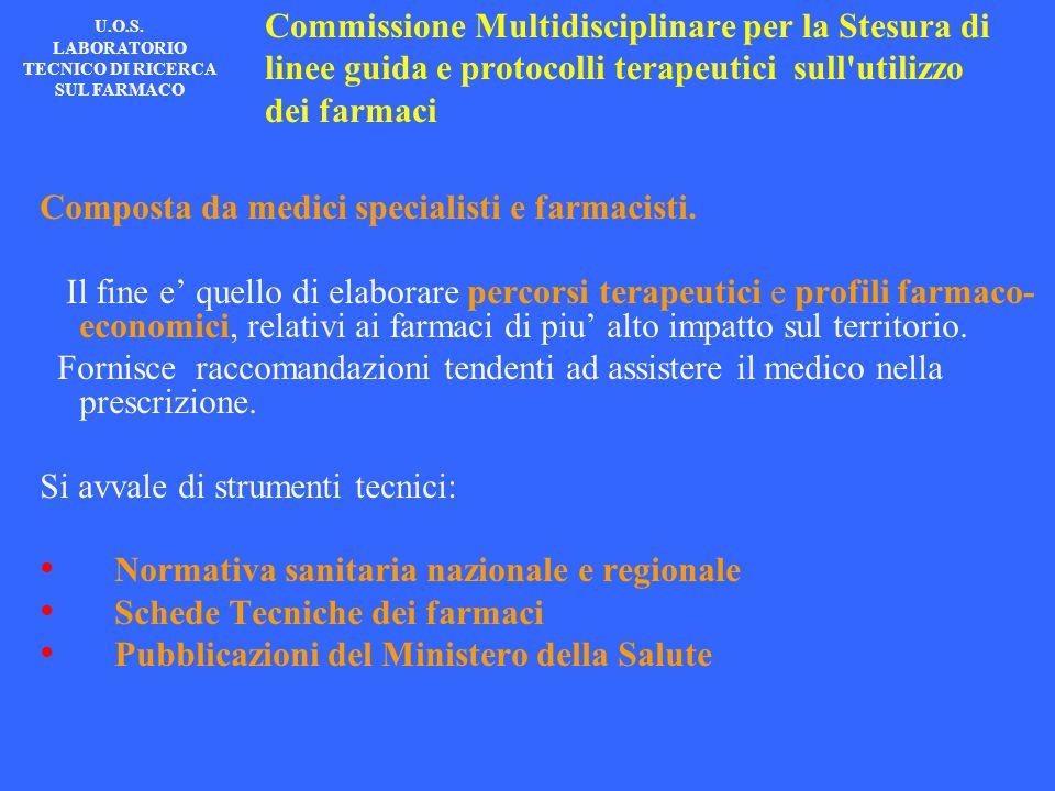 Commissione Multidisciplinare per la Stesura di linee guida e protocolli terapeutici sull'utilizzo dei farmaci Composta da medici specialisti e farmac