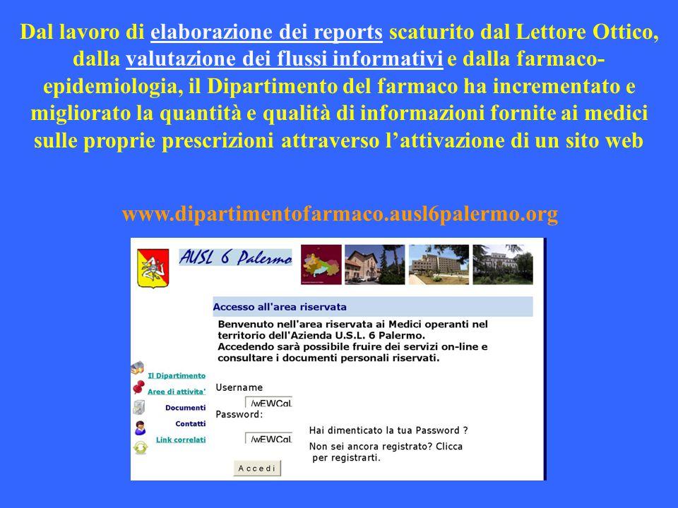 Dal lavoro di elaborazione dei reports scaturito dal Lettore Ottico, dalla valutazione dei flussi informativi e dalla farmaco- epidemiologia, il Dipar