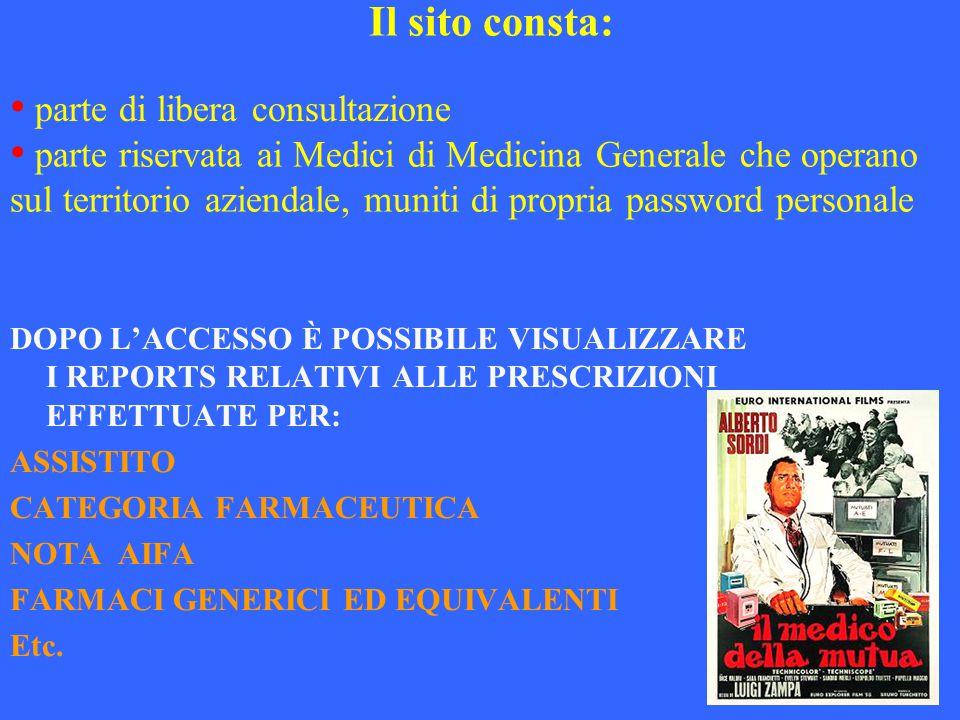 parte di libera consultazione DOPO L'ACCESSO È POSSIBILE VISUALIZZARE I REPORTS RELATIVI ALLE PRESCRIZIONI EFFETTUATE PER: ASSISTITO CATEGORIA FARMACE