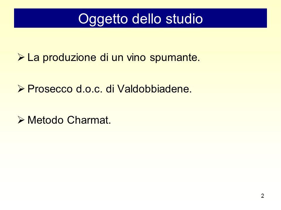 2 Oggetto dello studio  La produzione di un vino spumante.