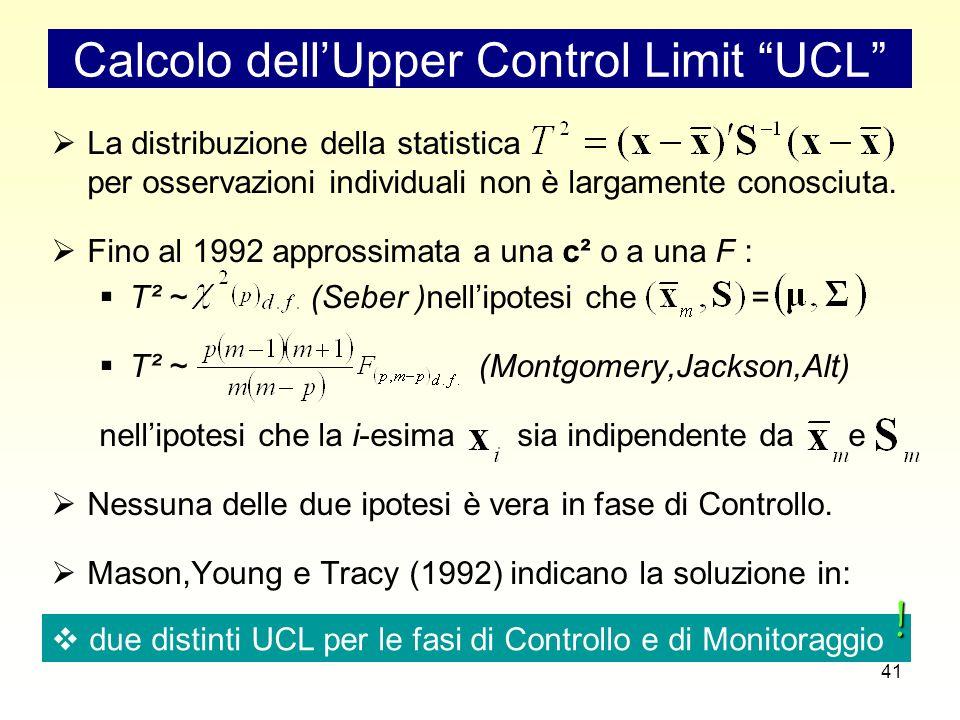41 Calcolo dell'Upper Control Limit UCL  La distribuzione della statistica per osservazioni individuali non è largamente conosciuta.