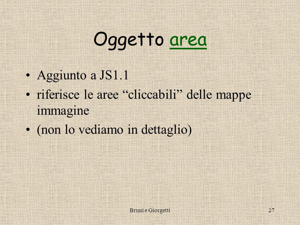 Bruni e Giorgetti27 Oggetto areaarea Aggiunto a JS1.1 riferisce le aree cliccabili delle mappe immagine (non lo vediamo in dettaglio)