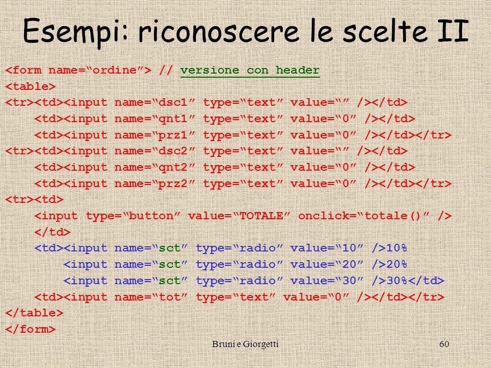 Bruni e Giorgetti60 Esempi: riconoscere le scelte II // versione con headerversione con header 10% 20% 30%
