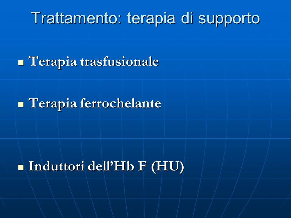 Trattamento: terapia di supporto Terapia trasfusionale Terapia trasfusionale Terapia ferrochelante Terapia ferrochelante Induttori dell'Hb F (HU) Indu