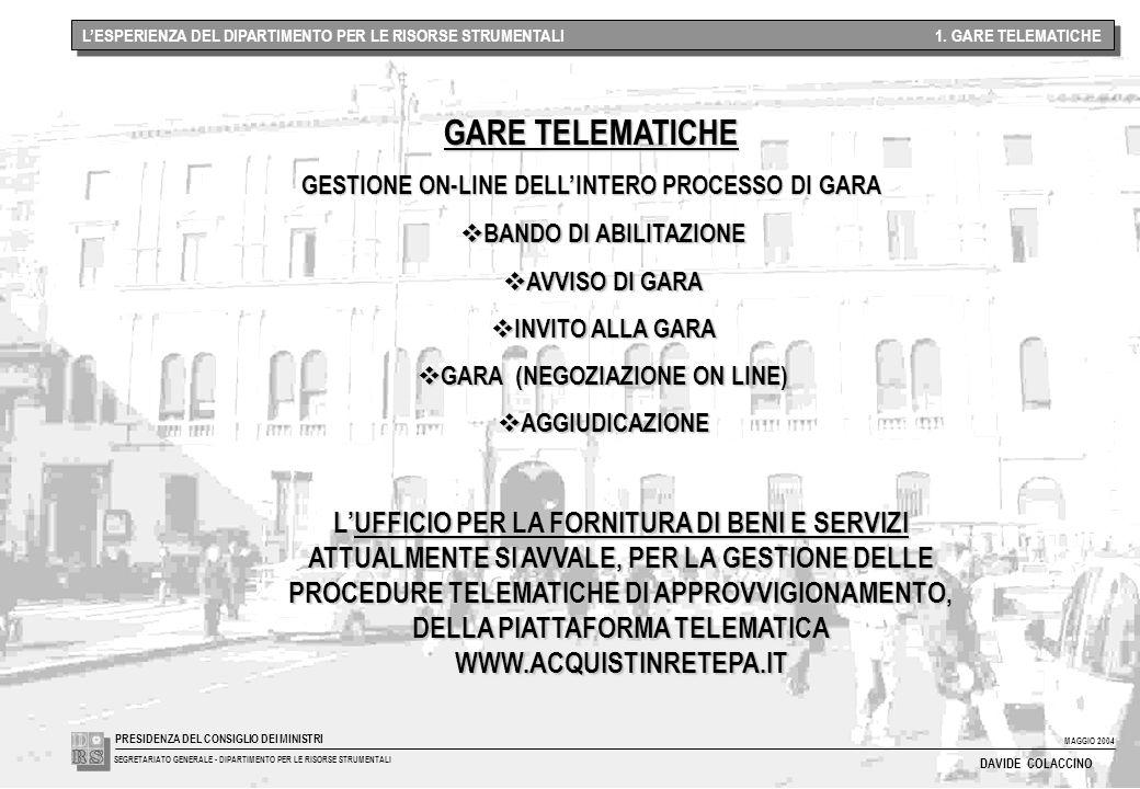 MAGGIO 2004 SEGRETARIATO GENERALE - DIPARTIMENTO PER LE RISORSE STRUMENTALI PRESIDENZA DEL CONSIGLIO DEI MINISTRI DAVIDE COLACCINO L'ESPERIENZA DEL DIPARTIMENTO PER LE RISORSE STRUMENTALI 1.