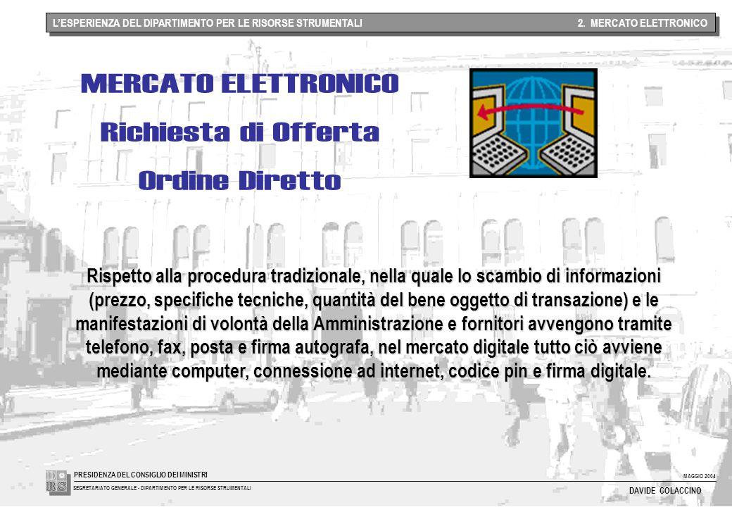 MAGGIO 2004 SEGRETARIATO GENERALE - DIPARTIMENTO PER LE RISORSE STRUMENTALI PRESIDENZA DEL CONSIGLIO DEI MINISTRI DAVIDE COLACCINO L'ESPERIENZA DEL DIPARTIMENTO PER LE RISORSE STRUMENTALI 2.