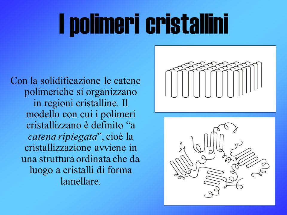 I polimeri cristallini Con la solidificazione le catene polimeriche si organizzano in regioni cristalline. Il modello con cui i polimeri cristallizzan