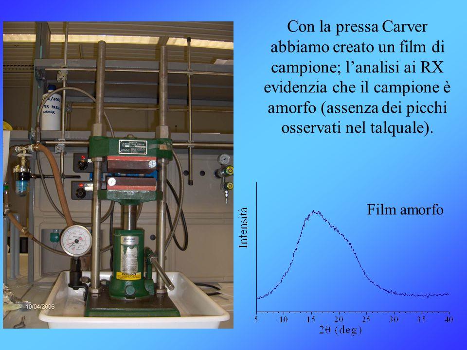 Con la pressa Carver abbiamo creato un film di campione; l'analisi ai RX evidenzia che il campione è amorfo (assenza dei picchi osservati nel talquale