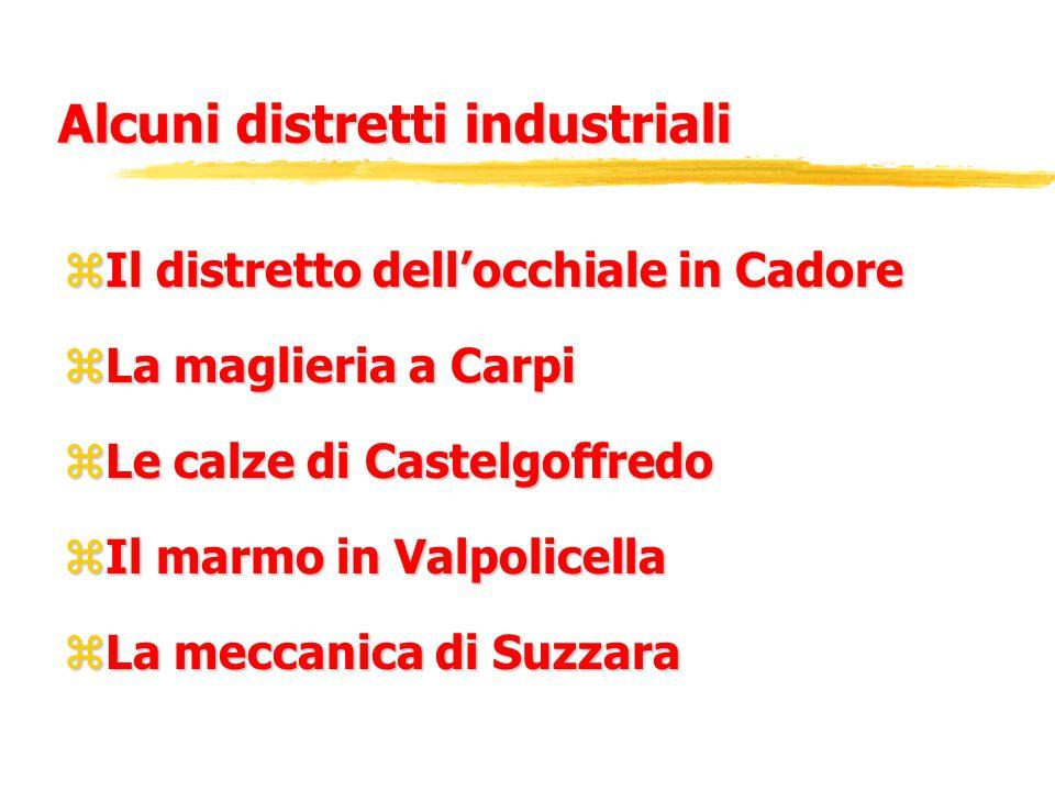 Alcuni distretti industriali zIl distretto dell'occhiale in Cadore zLa maglieria a Carpi zLe calze di Castelgoffredo zIl marmo in Valpolicella zLa meccanica di Suzzara