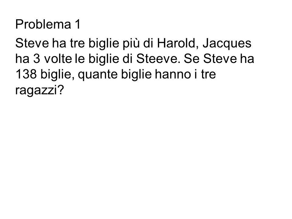Problema 1 Steve ha tre biglie più di Harold, Jacques ha 3 volte le biglie di Steeve.