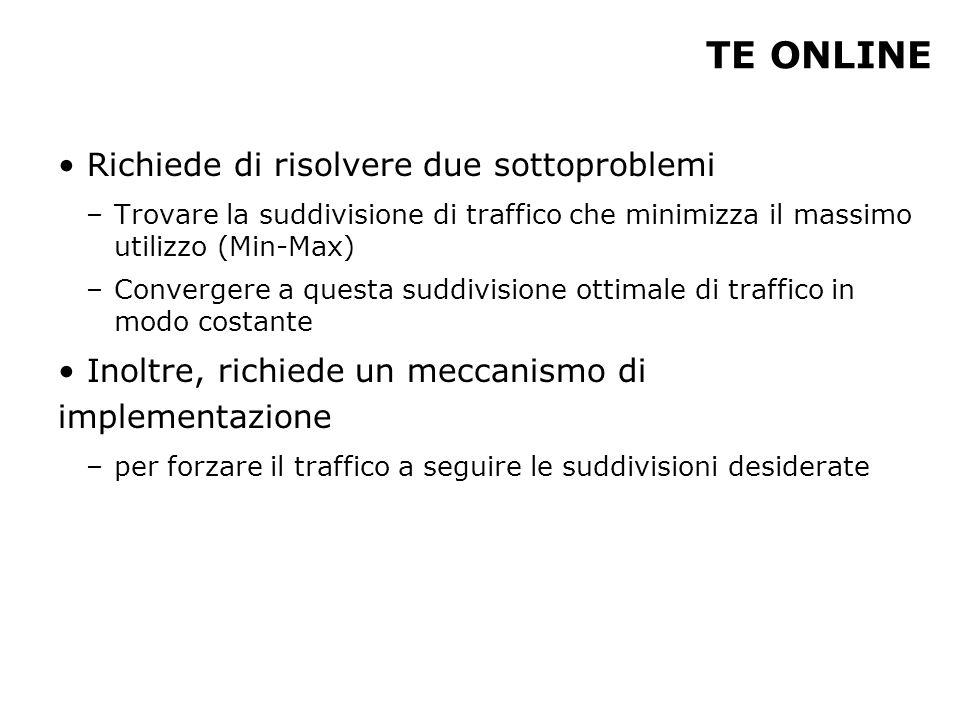TE ONLINE Richiede di risolvere due sottoproblemi –Trovare la suddivisione di traffico che minimizza il massimo utilizzo (Min-Max) –Convergere a questa suddivisione ottimale di traffico in modo costante Inoltre, richiede un meccanismo di implementazione –per forzare il traffico a seguire le suddivisioni desiderate