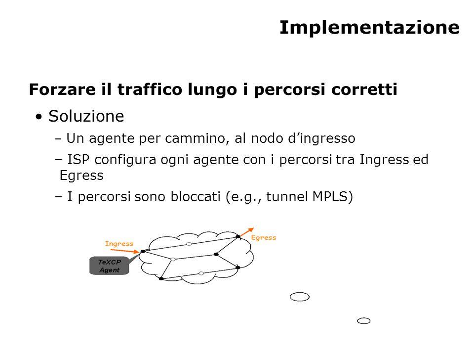 Implementazione Forzare il traffico lungo i percorsi corretti Soluzione – Un agente per cammino, al nodo d'ingresso – ISP configura ogni agente con i percorsi tra Ingress ed Egress – I percorsi sono bloccati (e.g., tunnel MPLS)