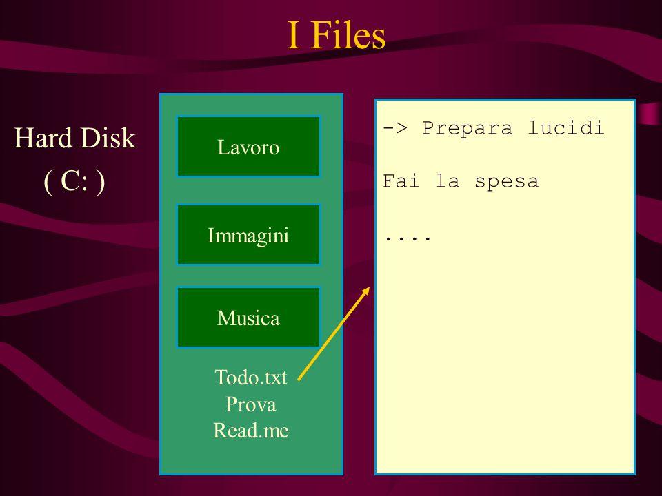 Todo.txt Prova Read.me I Files Hard Disk ( C: ) Lavoro Musica Immagini -> Prepara lucidi Fai la spesa....