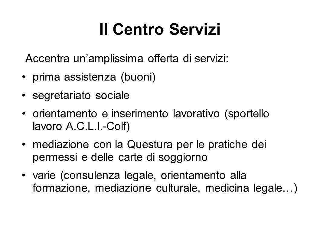 Il Centro Servizi Accentra un'amplissima offerta di servizi: prima assistenza (buoni) segretariato sociale orientamento e inserimento lavorativo (spor