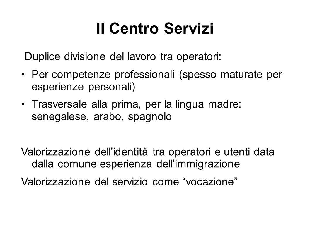 Il Centro Servizi Duplice divisione del lavoro tra operatori: Per competenze professionali (spesso maturate per esperienze personali) Trasversale alla