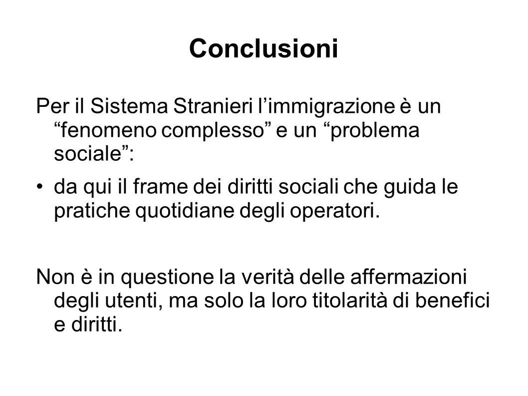 Conclusioni Per il Sistema Stranieri l'immigrazione è un fenomeno complesso e un problema sociale : da qui il frame dei diritti sociali che guida le pratiche quotidiane degli operatori.