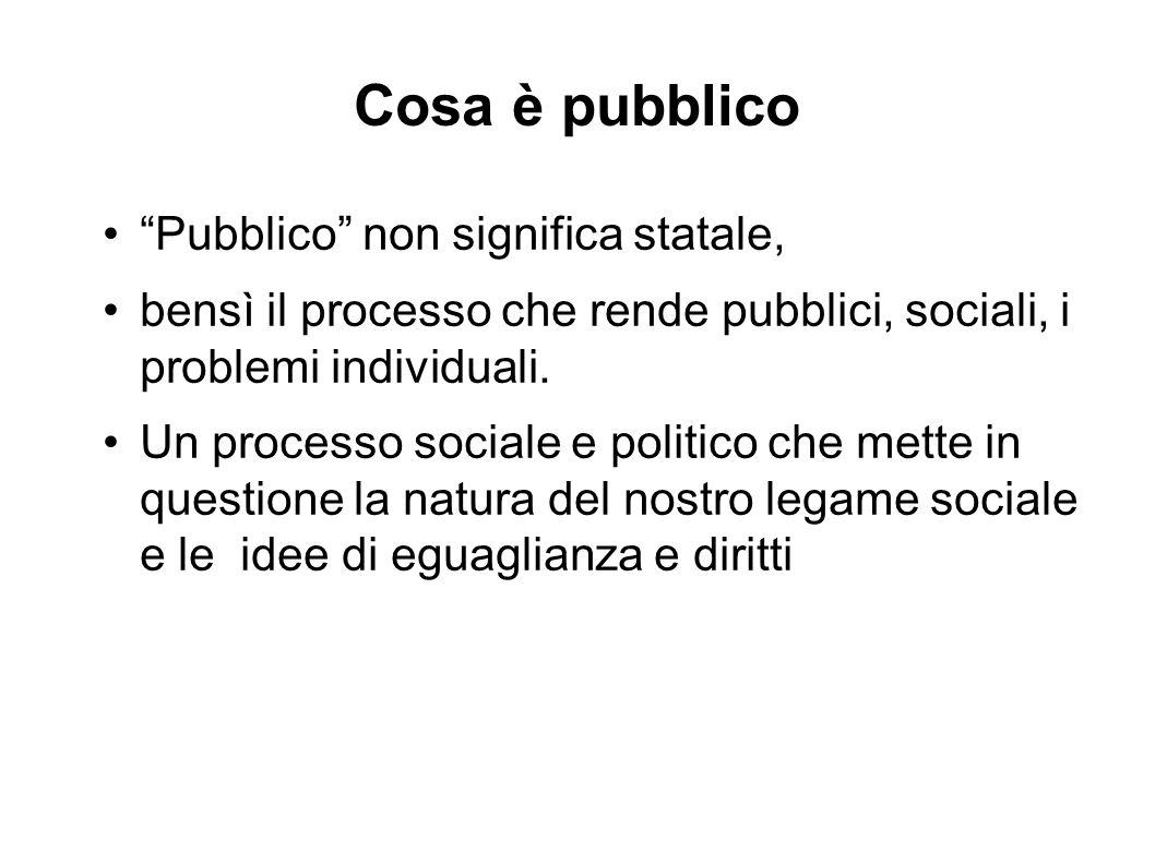 """Cosa è pubblico """"Pubblico"""" non significa statale, bensì il processo che rende pubblici, sociali, i problemi individuali. Un processo sociale e politic"""