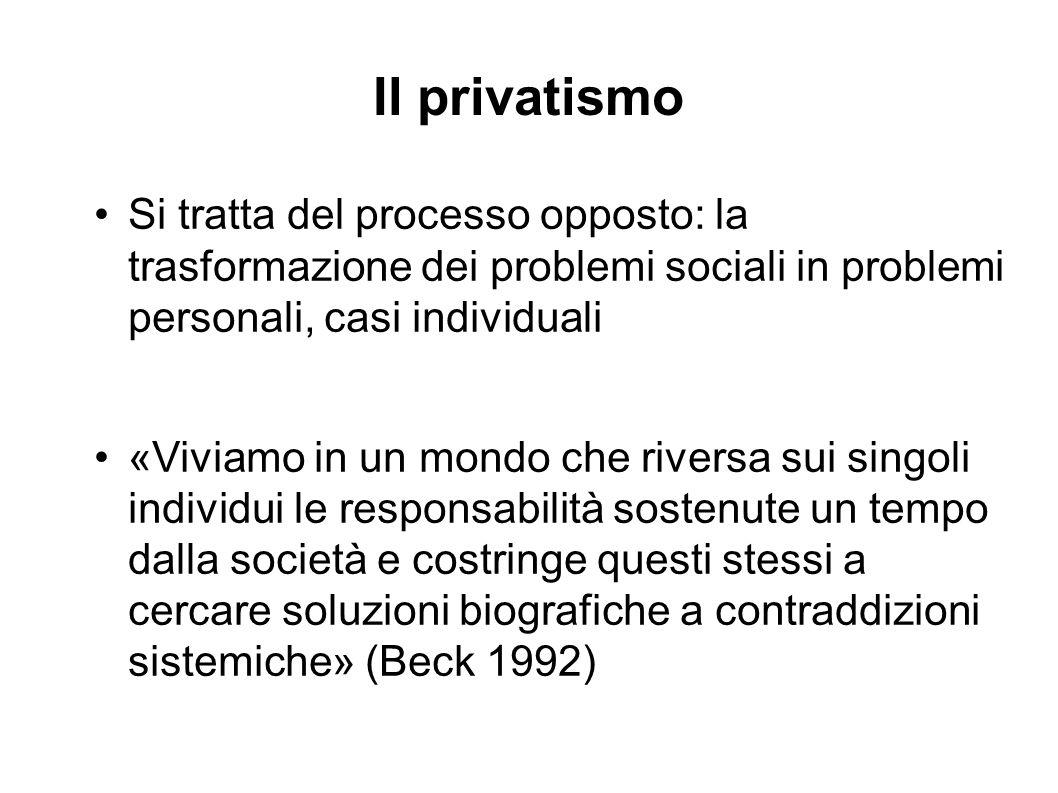 Il privatismo Si tratta del processo opposto: la trasformazione dei problemi sociali in problemi personali, casi individuali «Viviamo in un mondo che riversa sui singoli individui le responsabilità sostenute un tempo dalla società e costringe questi stessi a cercare soluzioni biografiche a contraddizioni sistemiche» (Beck 1992)