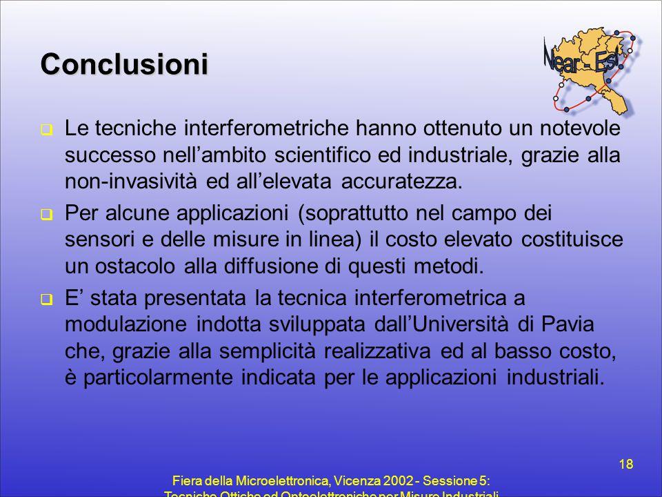 Fiera della Microelettronica, Vicenza 2002 - Sessione 5: Tecniche Ottiche ed Optoelettroniche per Misure Industriali 18 Conclusioni  Le tecniche inte