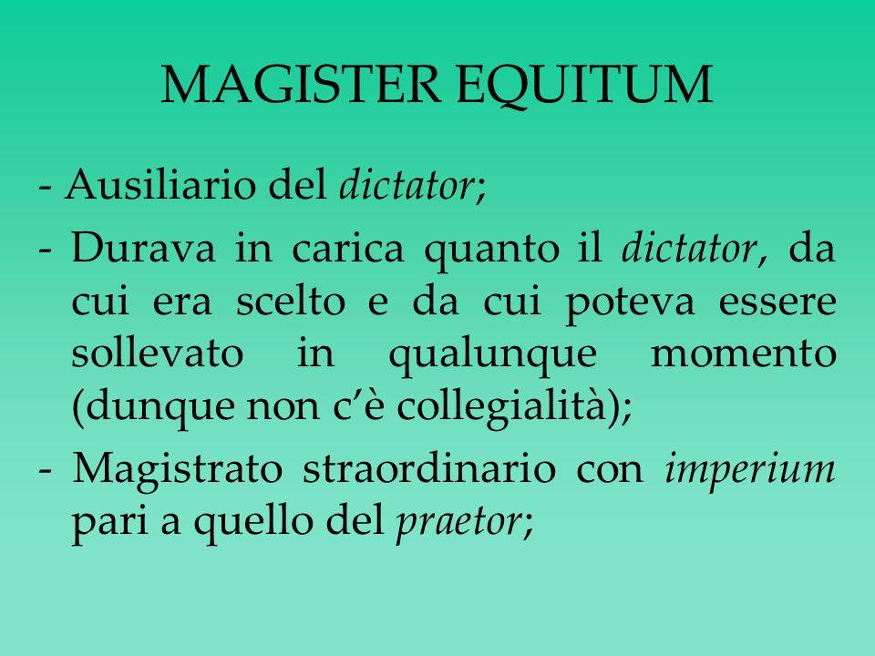 QUESTORI (da non confondere con i quaestores parricidii) Primus gradus del cursus honorum; - Magistratura ordinaria minore; - Non curule; Insegne: sella non curule, borsa portadanaro, bastone; - Sine imperio; - Competenza varia ma sempre di ambito FINANZIARIO : · 2 aerarii/urbani → aerarium Saturni+signa+leges+senatusconsulta; · 1 Ostiensis; · aquarii → acquedotti; · militares → al seguito delle varie legiones; · provinciales → al seguito dei governatori provinciali (avevano anche una iurisdictio in provincia simile a quella degli edili curuli).