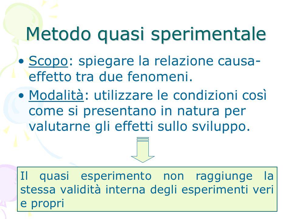 Metodo quasi sperimentale Scopo: spiegare la relazione causa- effetto tra due fenomeni. Modalità: utilizzare le condizioni così come si presentano in