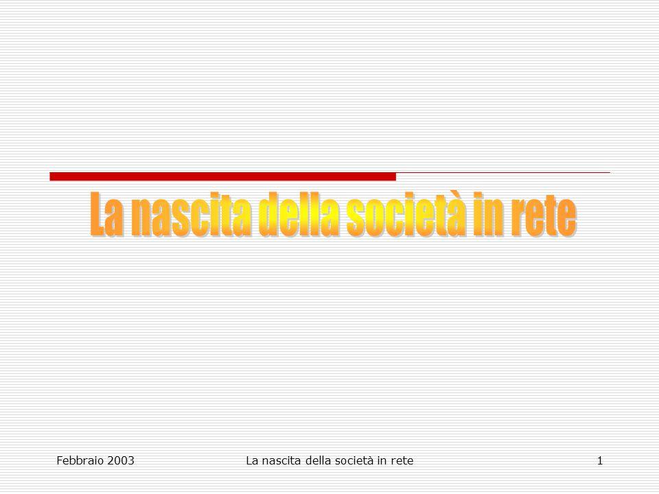 Febbraio 2003La nascita della società in rete1