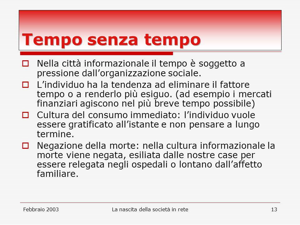 Febbraio 2003La nascita della società in rete13  Nella città informazionale il tempo è soggetto a pressione dall'organizzazione sociale.