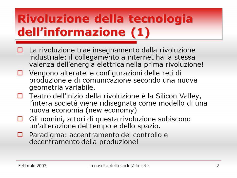Febbraio 2003La nascita della società in rete2  La rivoluzione trae insegnamento dalla rivoluzione industriale: il collegamento a internet ha la stessa valenza dell'energia elettrica nella prima rivoluzione.