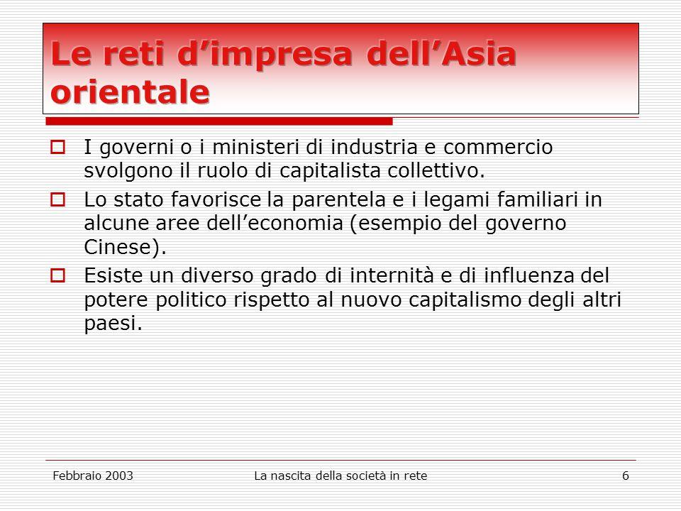 Febbraio 2003La nascita della società in rete6  I governi o i ministeri di industria e commercio svolgono il ruolo di capitalista collettivo.