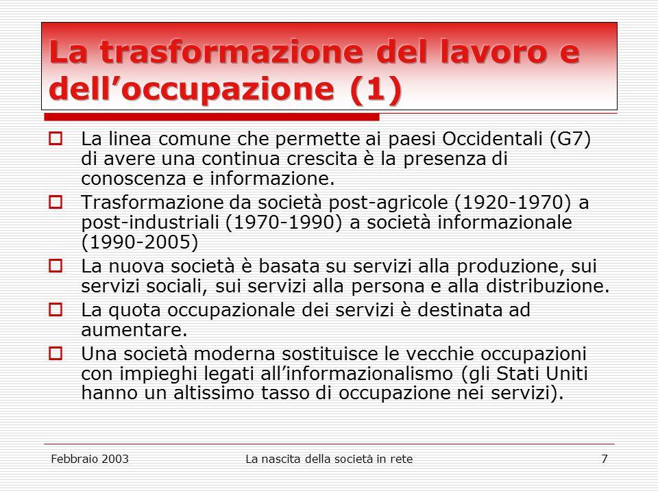Febbraio 2003La nascita della società in rete7  La linea comune che permette ai paesi Occidentali (G7) di avere una continua crescita è la presenza di conoscenza e informazione.