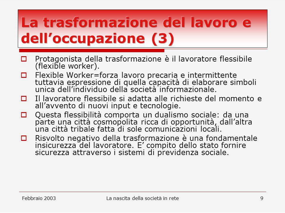 Febbraio 2003La nascita della società in rete9  Protagonista della trasformazione è il lavoratore flessibile (flexible worker).