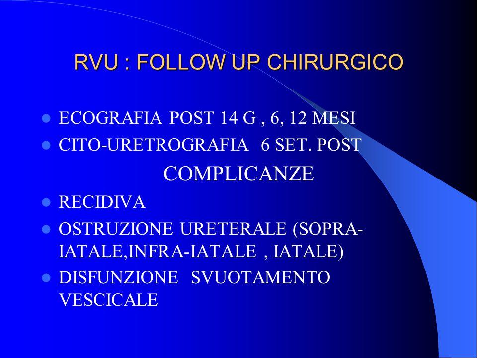 RVU : FOLLOW UP CHIRURGICO ECOGRAFIA POST 14 G, 6, 12 MESI CITO-URETROGRAFIA 6 SET. POST COMPLICANZE RECIDIVA OSTRUZIONE URETERALE (SOPRA- IATALE,INFR