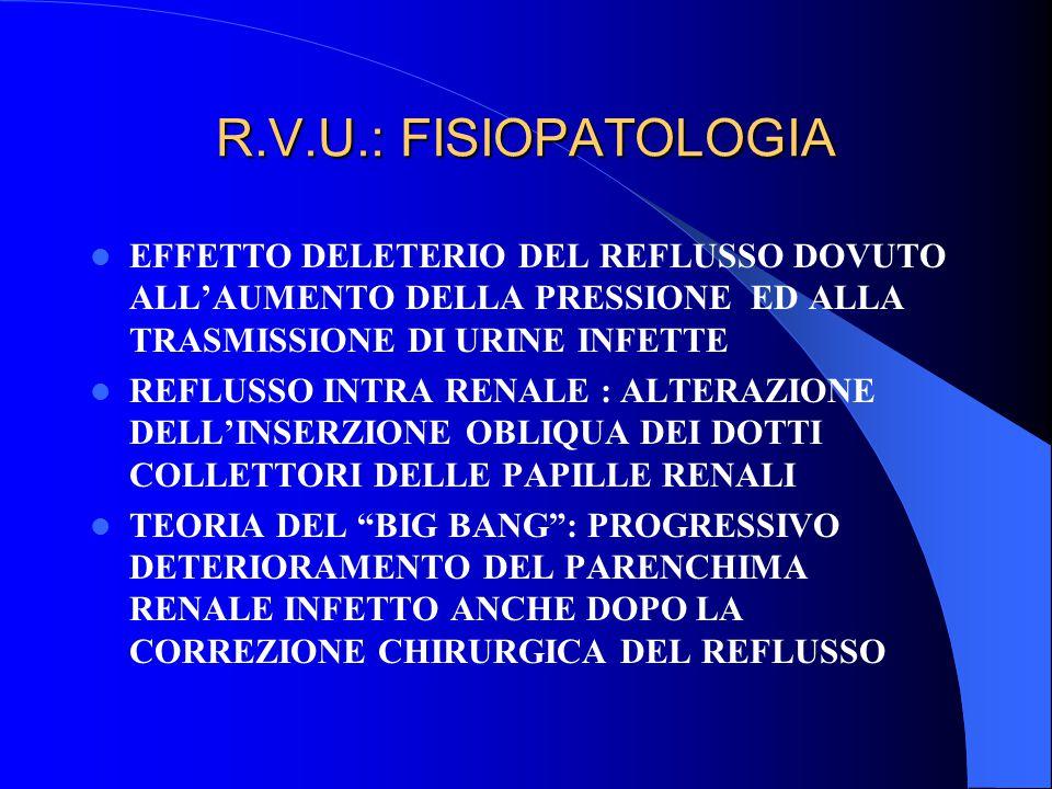 R.V.U.: FISIOPATOLOGIA EFFETTO DELETERIO DEL REFLUSSO DOVUTO ALL'AUMENTO DELLA PRESSIONE ED ALLA TRASMISSIONE DI URINE INFETTE REFLUSSO INTRA RENALE :