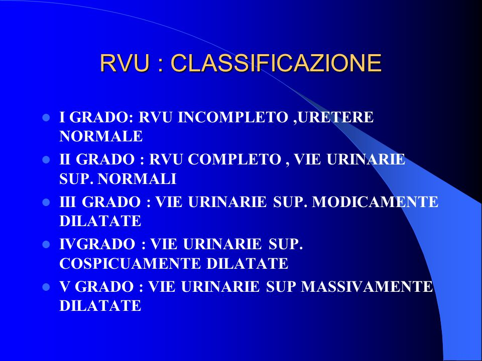 RVU : FOLLOW UP CHIRURGICO ECOGRAFIA POST 14 G, 6, 12 MESI CITO-URETROGRAFIA 6 SET.