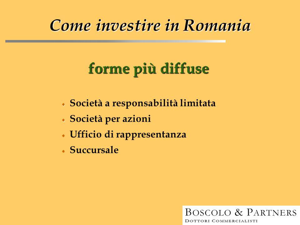 forme più diffuse Come investire in Romania Società a responsabilità limitata Società per azioni Ufficio di rappresentanza Succursale