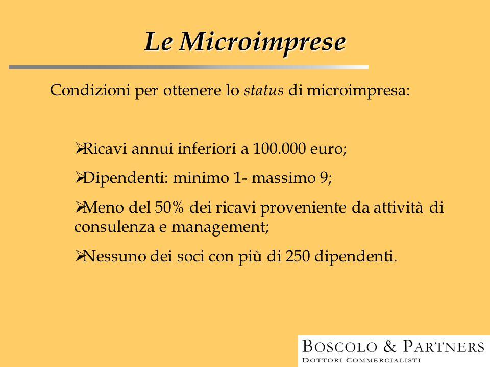 Le Microimprese Condizioni per ottenere lo status di microimpresa:  Ricavi annui inferiori a 100.000 euro;  Dipendenti: minimo 1- massimo 9;  Meno
