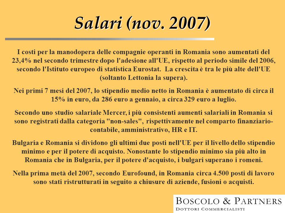 Salari (nov. 2007) I costi per la manodopera delle compagnie operanti in Romania sono aumentati del 23,4% nel secondo trimestre dopo l'adesione all'UE