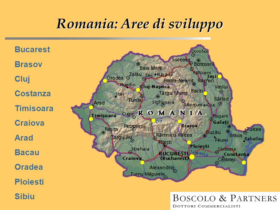 Romania: Aree di sviluppo Bucarest Brasov Cluj Costanza Timisoara Craiova Arad Bacau Oradea Ploiesti Sibiu