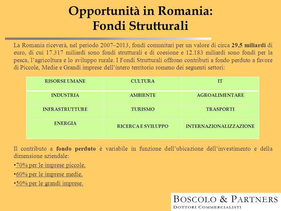 Opportunità in Romania: Fondi Strutturali La Romania riceverà, nel periodo 2007–2013, fondi comunitari per un valore di circa 29,5 miliardi di euro, d