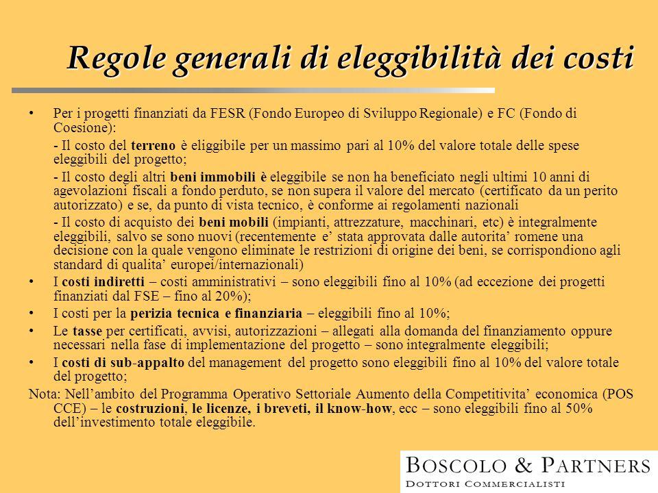 Regolegenerali di eleggibilità dei costi Regole generali di eleggibilità dei costi Per i progetti finanziati da FESR (Fondo Europeo di Sviluppo Region