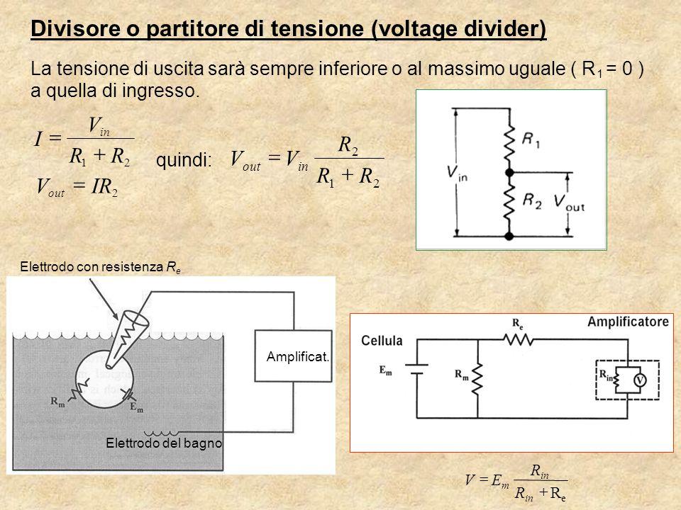 Divisore o partitore di tensione (voltage divider) La tensione di uscita sarà sempre inferiore o al massimo uguale ( R 1 = 0 ) a quella di ingresso.
