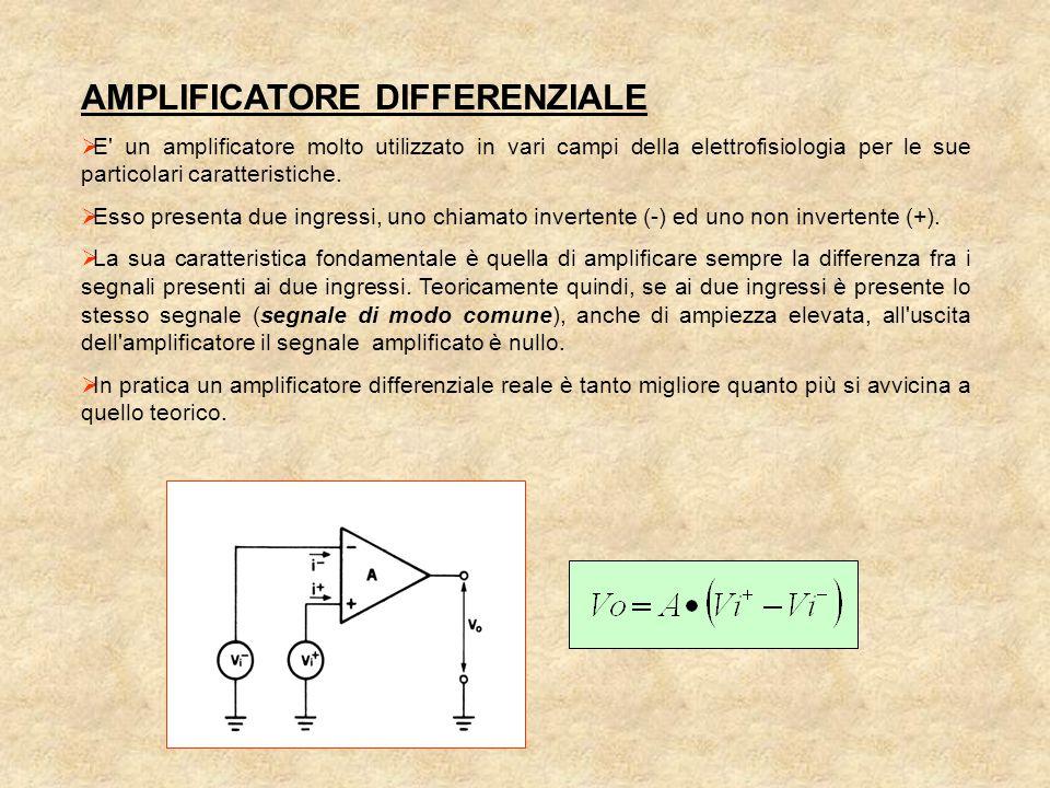 AMPLIFICATORE DIFFERENZIALE  E un amplificatore molto utilizzato in vari campi della elettrofisiologia per le sue particolari caratteristiche.