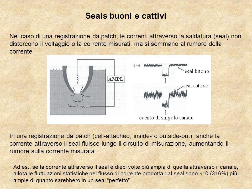 Seals buoni e cattivi In una registrazione da patch (cell-attached, inside- o outside-out), anche la corrente attraverso il seal fluisce lungo il circuito di misurazione, aumentando il rumore sulla corrente misurata.
