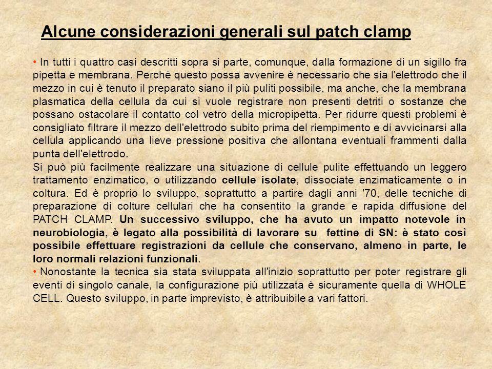 Alcune considerazioni generali sul patch clamp In tutti i quattro casi descritti sopra si parte, comunque, dalla formazione di un sigillo fra pipetta e membrana.