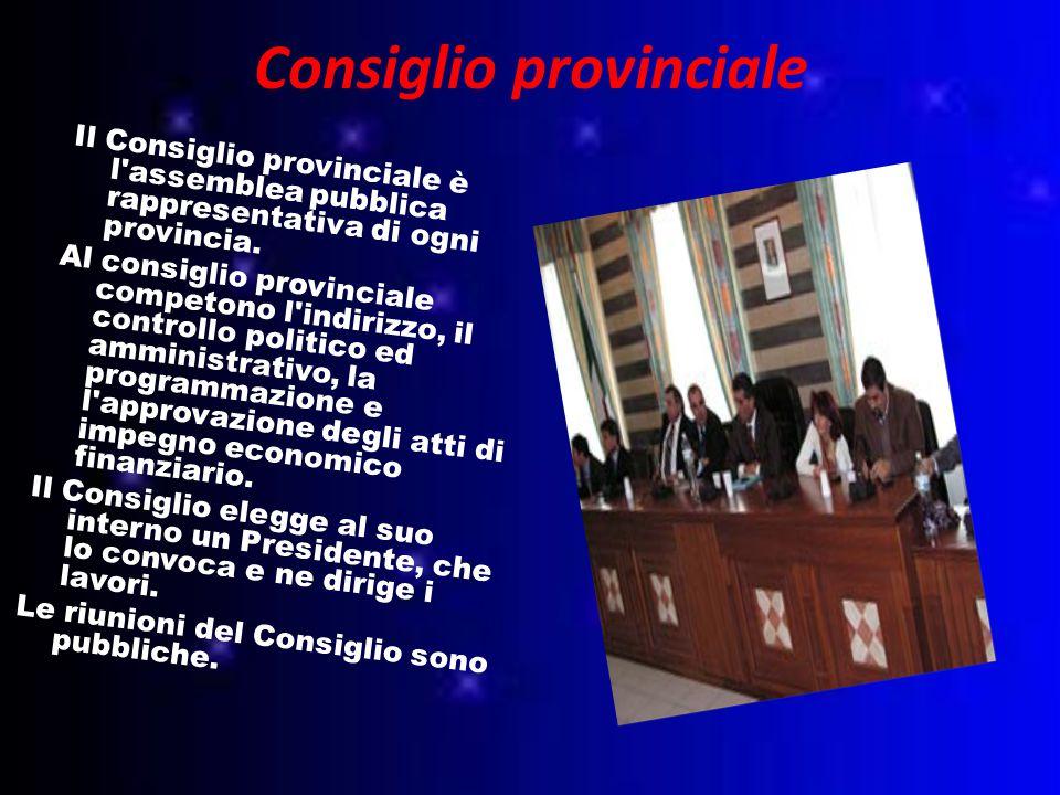 Consiglio provinciale Il Consiglio provinciale è l assemblea pubblica rappresentativa di ogni provincia.