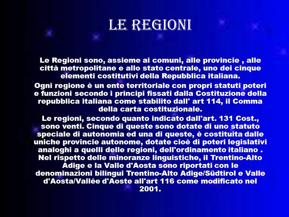 Le regioni Le Regioni sono, assieme ai comuni, alle provincie, alle città metropolitane e allo stato centrale, uno dei cinque elementi costitutivi della Repubblica italiana.