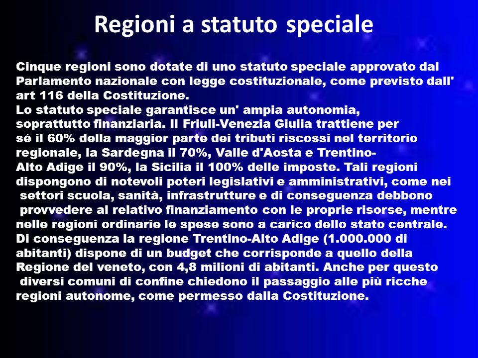 Regioni a statuto speciale Cinque regioni sono dotate di uno statuto speciale approvato dal Parlamento nazionale con legge costituzionale, come previsto dall art 116 della Costituzione.